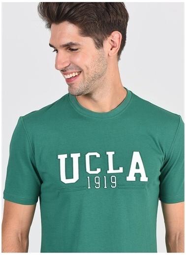 UCLA Ucla Cabazon Bisiklet Yaka Yazı BaskılıYeşil Erkek T-Shirt Yeşil